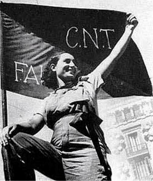 CNT-FAI woman and flag
